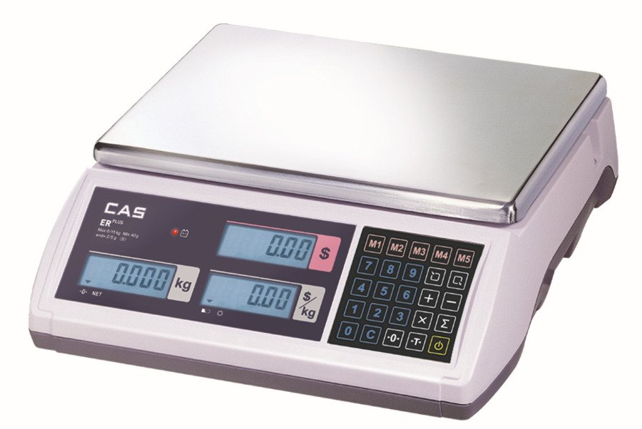 CAS ER-Plus 15kg x 5g/30kg x 10g Dual Range Price Computing Retail Scale